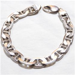 Sterling Silver Mariner Link Bracelet with Lobster Clasp.  Total weight of 30.9 grams.