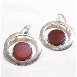 Lady's Sterling Silver Carnelian Earrings with Shepherd Hooks.