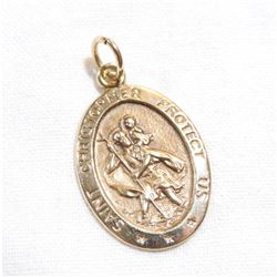 10K Yellow Gold Saint Christopher's Pendant.  Total weight of 2 grams.
