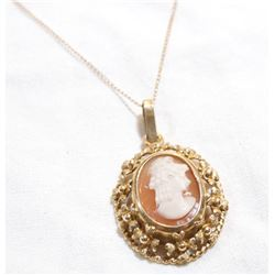 "Vintage 14K Yellow Gold Cameo Pendant on 10K Yellow Gold 16.5"" Chain.  Total weight of 5.6 grams."