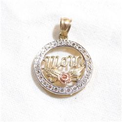 10K Yellow, White, and Rose Gold 'MOM' Pendant.  Total weight of 1.06 grams.