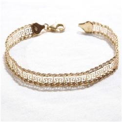 "Lady's 10K Yellow Gold Aztec Design Bracelet with Lobster Clasp.  Measures 6 3/4"" in length with a t"