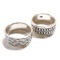 Pair of Sterling Silver Wide Band Rings - Both Size 10.  2pcs.