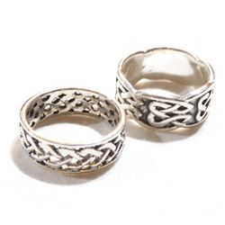 Pair of Sterling Silver Wide Band Ring - Both size 10.5. 2pcs.
