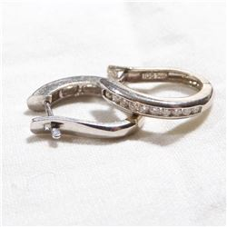 14K White Gold Diamond Channel Set earrings. Total weight of 3.26 grams.