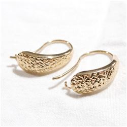 Lady's 10K Yellow Gold Textured Earrings. Total weight of 1.30 grams.
