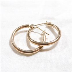 Lady's 10K Yellow Gold Hoop Earrings. Total weight of 0.81 grams.