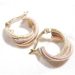 14K Yellow, White, and Rose Gold Hoop Style Earrings. Total weight of 1.8 grams.