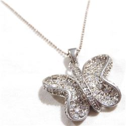 "Sterling Silver Cubic Zirconia Accented Butterfly Pendant on 19 1/4"" Beaded Chain."