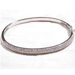 "Lady's 18K White Gold Pave' Diamond Hinged Cuff Bracelet.  Bracelet measured 2 1/4"" in diameter with"