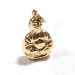 14K Yellow Gold 3-Dimensional Buddha Pendant/Charm.  Total weight of 2.38 grams.