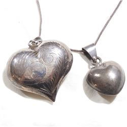 "Pair of Vintage Large Sterling Silver 3-Dimensional Heart Pendants on 30"" Chain.  Smaller of the Hea"