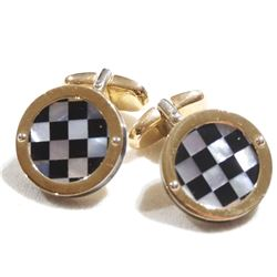 Pair of Men's 14K Yellow Gold Mother-of-pearl & Onyx Inlayed Checkerboard Cufflinks.  Total weight o