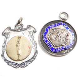 Pair of 1936 Sterling Silver Award Medals.  You will receive a Whitehead Cup Six Mile Road Race- awa