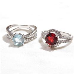 Pair of Lady's Sterling Silver Stone Accented Rings - Both size 6. 2pcs.