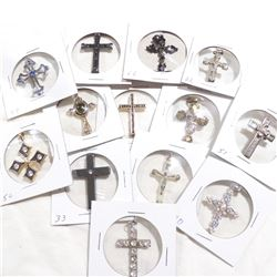 Estate Lot Vintage Mixed Materials Cross Pendants with Stone Accents. You will receive 13 different