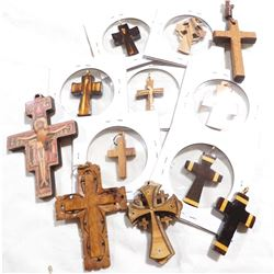 Estate Lot Antique/Vintage Wooden Cross Pendants.  You will receive 12 different crosses in this col