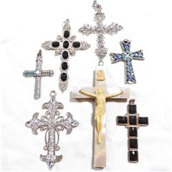 Estate Lot Vintage Large Mixed Metal Stone Accented Cross Pendants.  You will receive 7 different pe