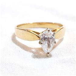 Lady's 14K Yellow Gold Cubic Zirconia Marquise Cut Ring - Size 8.  Total weight of 2.7 grams.