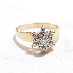 Lady's 14K Yellow Gold Diamond Cluster Ring - Size 7.  Total weight of 2.8 grams.