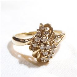 Lady's 14K Yellow Gold Diamond Cluster Ring - Size 8.  Total weight of 3.7 grams.