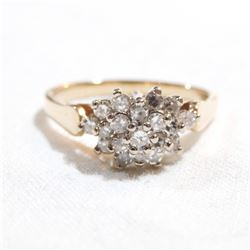 Lady's 14K Yellow Gold Diamond Cluster Ring - Size 7.5.  Total weight of 3.3 grams.