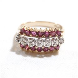Lady's 10K Ruby & Diamond Ring - Size 6.  Total weight of 3.9 grams.