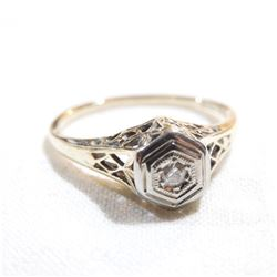 Antique 14K Yellow & White Gold Diamond Ring - Size 4.5.  Total weight of 1.6 grams.