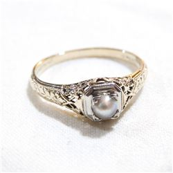 Antique 14K-18K Yellow & White Gold Forget-me-not Band Design with Pearl.  Size 6 3/4.  Total weight