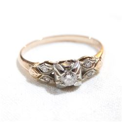 Vintage 14K-18K Yellow & White Gold Diamond Ring - Size 6.5.  Total weight of 1.9 grams.