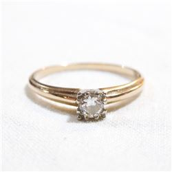 14K Yellow Gold Solitaire Diamond Ring - Size 6.5.  Total weight of 1.8 grams.