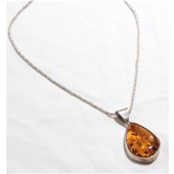 "Large Sterling Silver Amber Pendant on 17"" Sterling Rope Chain."