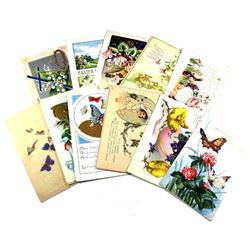 1910-1940 Easter Greetings Postcard Collection. All but 2 postcards contain personal greetings, incl