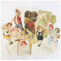 Estate Lot Antique Victorian Die-cut Greeting Cards. You will receive 7 Cards, mainly Valentines Day