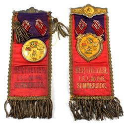 Pair of Antique Loyal Orange Lodge Fraternal Member Ribbons/Pins. One is fully intact. 2pcs.