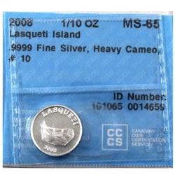 2008 Lasqueti Island 1/10oz Fine Silver CCCS Certified MS-65 Heavy Cameo (Tax Exempt)