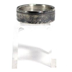 2006 Canada Silver 50ct Coin Custom Jewellery Ring Size 9.5 - Made from a real 50-cent coin!