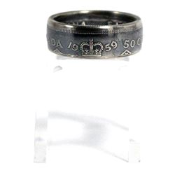 1959 Canada Silver 50ct Coin Custom Jewellery Ring Size 10 - Made from a real 50-cent coin!