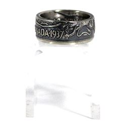 1937 Canada Silver 50ct Coin Custom Jewellery Ring Size 6 - Made from a real 50-cent coin!