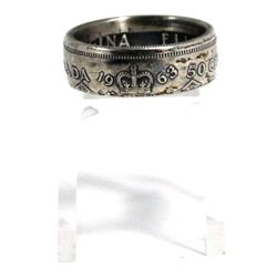 1963 Canada Silver 50ct Coin Custom Jewellery Ring Size 10 - Made from a real 50-cent coin!