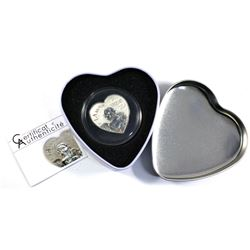 """2013 Republic of Cameroon """"Heart of Love"""" 1000 Franc Sterling Silver Coin Encapsulated in Deluxe Hea"""