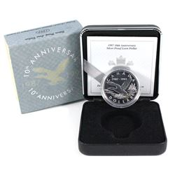 1997 Canada $1 10th anniversary Loon Sterling silver Flying loon. Coin comes with all original mint