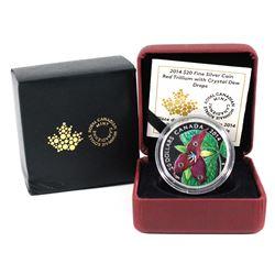 2014 Canada $20 Swarovski Crystals - Red Trillium with Crystal Dew Drops Fine Silver Coin.