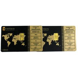 pair of Karat bars 1 Gram .9999 Fine Gold Bars in Hard Plastic Cards. 2pcs (TAX Exempt)