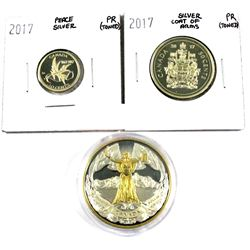 2017  Coat of arms 50-cent, 2017 Peace 10-cent  & 2017 Canada confederation Proof Silver Coins. 3pcs