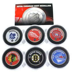 Lot of 6x  NHL Hockey team medallions made by the Royal Canadian Mint. Team medallion includes: Mont