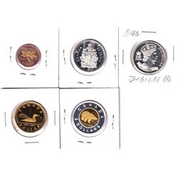 5x Canada commemorative proof coins: 2003 Gold plated 1-cent ( scuffed), 2002 Jubilee  50-cent, 1952