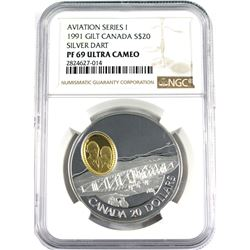 1991 Canada $20 Aviation Series 1 - Silver Dart Sterling Silver NGC Certified PF-69 Ultra Cameo.