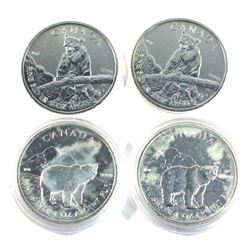 2011 & 2013 wildlife series Wolf & Cougar 1oz  Fine silver coins ( Tax Exempt). coin are toned. 4pcs