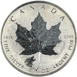 2016 Canada Wolf Privy $5 Silver Maple Leaf .9999 Fine (toned) No Tax